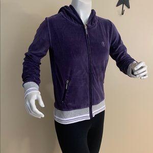 Retro Fairweather Zipper Velour Purple Hoodie